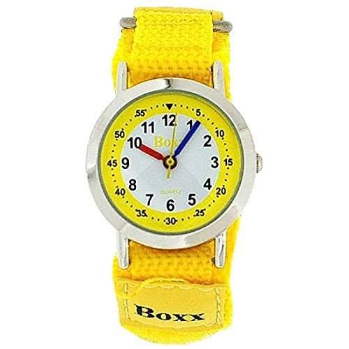 BOXX Maedchen und Jungen Armbanduhr analog mit gelb-weissem Ziffernblatt und gelben Klettverschlussarmband