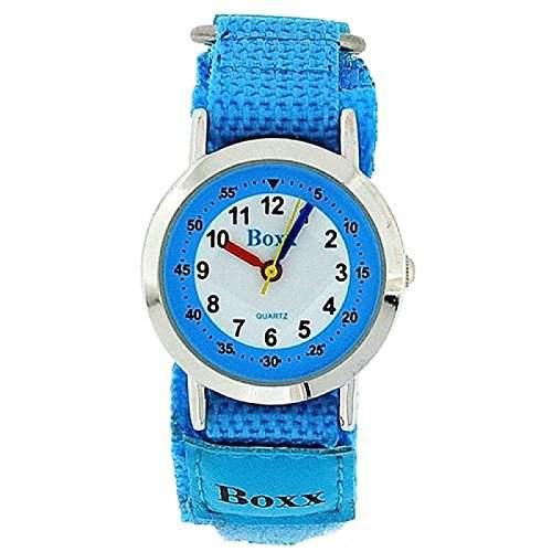 BOXX KIDS Analoge Armbanduhr himmelblau mit weissem Ziffernblatt und zweifarbigem Klettarmband