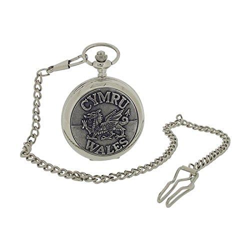 Boxx Herren Taschenuhr Wales Cymru auf Sprungdeckel mit 33 cm Uhrkette BOXX399