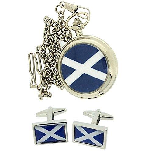 Boxx Schottland Herren Taschenuhr 30cm Kette Manschettenknoepfe Weihnachtsset