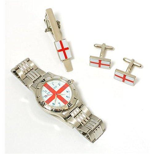 Set mit England Uhr Krawattenklammer und Manschettenknoepfen
