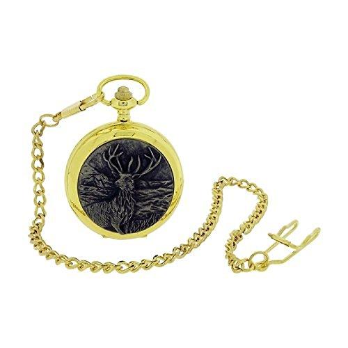 Boxx vergoldete Herren Hirsch Sprungdeckel Taschenuhr mit 33 cm Uhrkette BOXX401