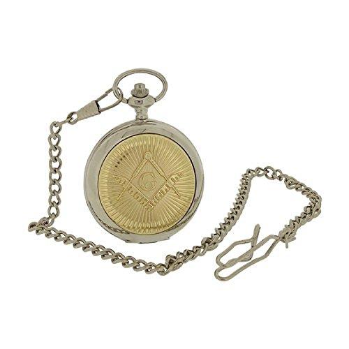 Boxx zweifarbige Herren Freimaurer Taschenuhr mit 33 cm Uhrkette BOXX395