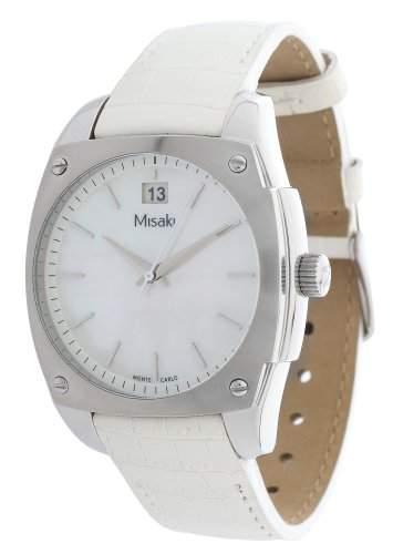 Misaki Damen-Armbanduhr Analog Quarz Leder QCRWMC98WWH