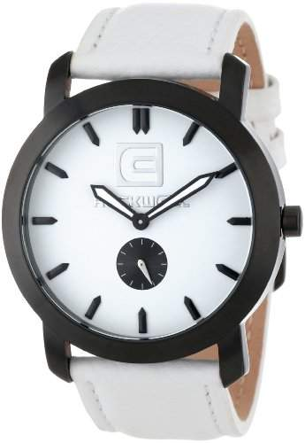 Rockwell Time Unisex CT108 Cartel White Leather Band White Dial Black Case Armbanduhr