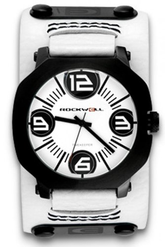 Rockwell Assassin White Leather White AS104 Armbanduhr Farbe Weiss Band Weisses Leder Material Edelstahl Gehaeusegroesse 45 mm Wasserdichte bis 50 m