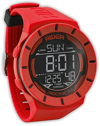 Rockwell Rider Coliseum Red Black RCL106 Armbanduhr 4 multifunktionale Knoepfe Farbe Rot Schwarz Band Rot Material ABS PU Kunststoff Uhrwerk Multifunktion Digital