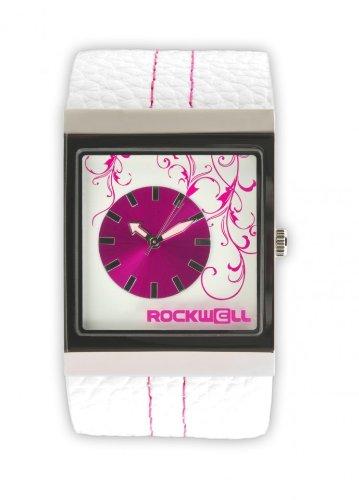 Rockwell Mercedes White Leather Pink MC101 Damenarmbanduhr Farbe Pink Band Weisses Leder Material Stahllegierung Gehaeusegroesse 36 mm Wasserdichte 30 m