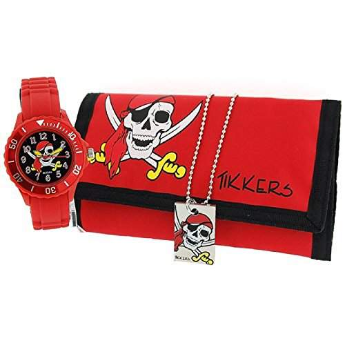 Tikkers Boys Piraten Geschenkset, Armbanduhr, Halskette und Portemonnaie ATK1012