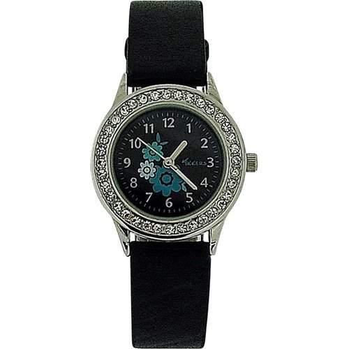 TIKKERS Maedchen Armbanduhr Schwarzes Ziffernblatt mit Blumendesign, Steinb besetzte Luenette, schwarzes PU Armband AGK-006