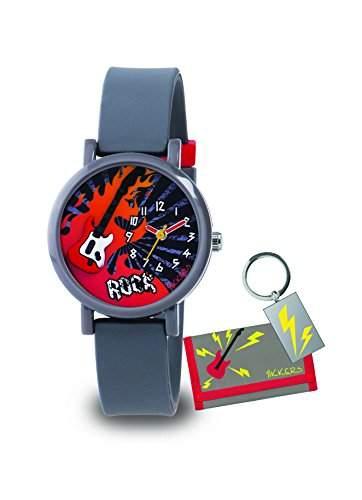 Tikkers Jungen-Armbanduhr Analog Silikon Grau ATK1015