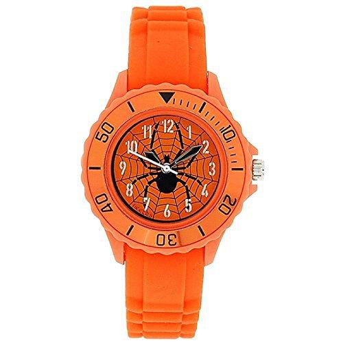 TIKKERS Analoge Jungen Sport Armbanduhr mit Spinnennetz und orangefarbenem Gummiarmband TK0032