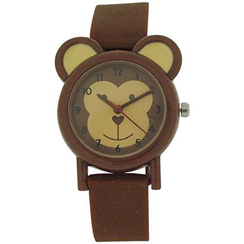 Tikkers analoge Kinderuhr Affenmuster braunes Gummi Silikon Armband TK0085