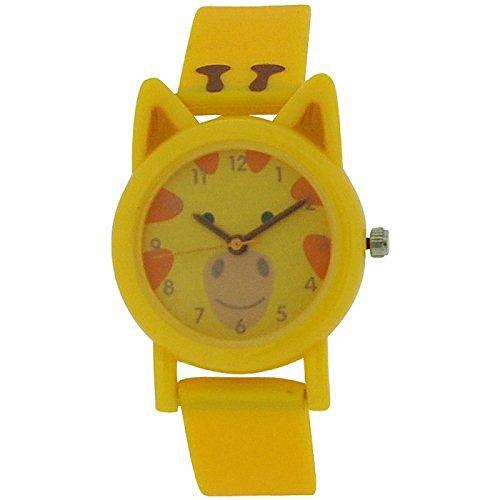 Tikkers analoge Kinderuhr Giraffenmuster gelbes Gummi Silikon Armband TK0086