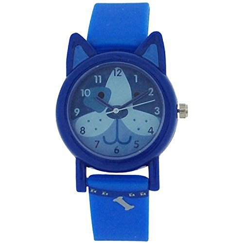 Tikkers analoge Kinderuhr bl Hundemuster bl Gummi Silikon Armband TK0089