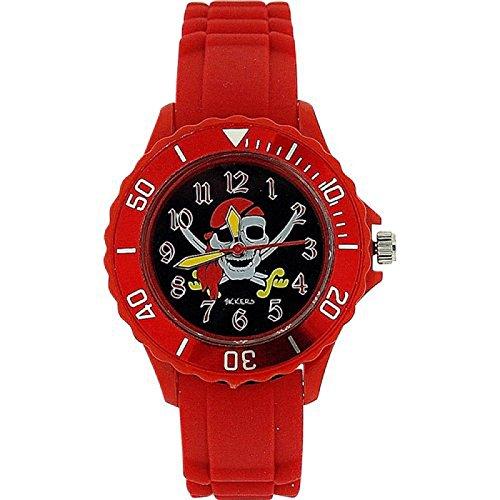 Tikkers Boys Piratenmotiv rotes Kautschuk Silikon Armband TK0055