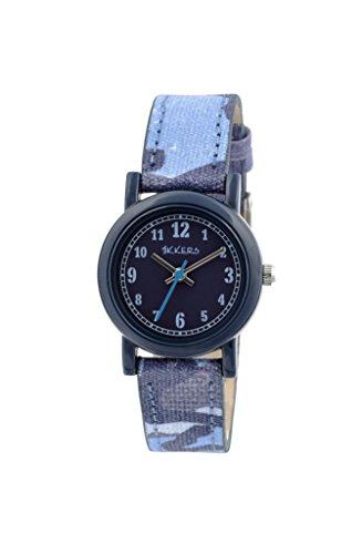 Tikkers Kinder Armbanduhr Analog Quarz mit Blau Zifferblatt Analog Display und Blau Silikon Riemen tk0106