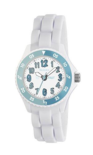 Tikkers Maedchen Quarz Uhr mit weissem Zifferblatt Analog Anzeige und Weiss Silikon Strap tk0118
