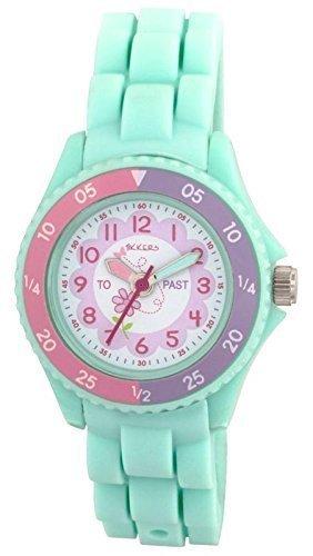 Tikkers Kinder Maedchen Aqua Gruen Blumen Design Silikon Time Teacher Tutor Armbanduhr ntk0004