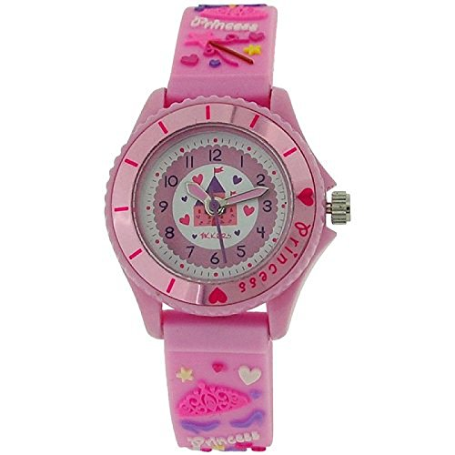 Tikkers Maedchen 3D Prinzessin Silikonarmband weisses rosa Zifferbl TK0036