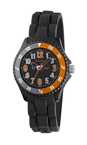 Tikkers Jungen Quarz Uhr mit schwarzem Zifferblatt Analog Anzeige und schwarz Silikon Strap tk0115
