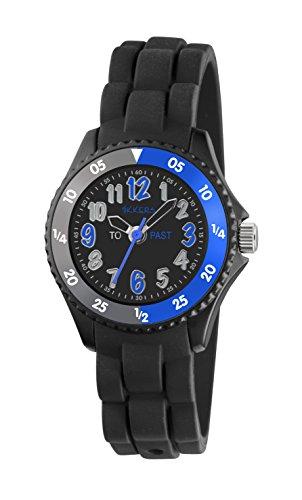 Tikkers Jungen Quarz Uhr mit schwarzem Zifferblatt Analog Anzeige und schwarz Silikon Strap tk0116