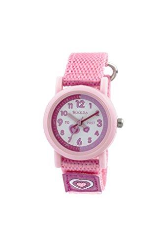 Tikkers Kinder Quarz Uhr mit weissem Zifferblatt Analog Anzeige und Pink Silikon Strap tk0112