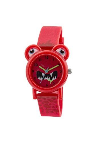 Tikkers Kinder Quarz Uhr mit Rot Zifferblatt Analog Anzeige und rotem Silikon Gurt tk0096