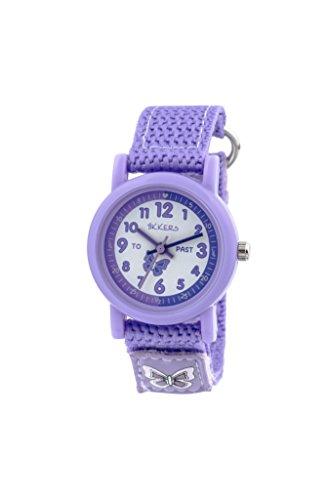 Tikkers Kinder Quarz Uhr mit weissem Zifferblatt Analog Anzeige und Violett Silikon Gurt tk0111