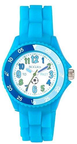Tikkers Kinder Time Teacher blau Gummi Silikon Armbanduhr ntk0006 Fussball Design