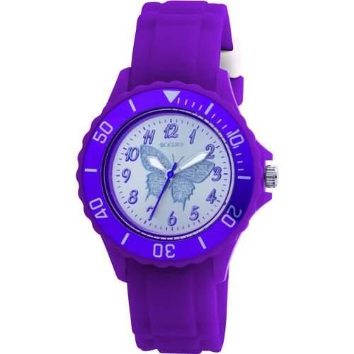 Tikkers Maedchen-Armbanduhr Analog Plastik Silber TK0035