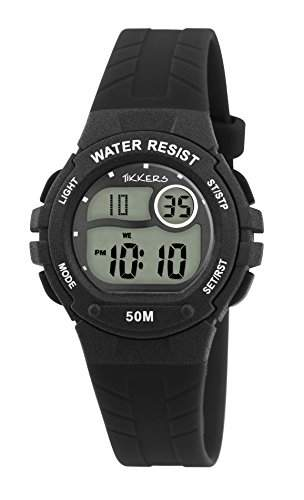 Tikkers Kinder Digital Armbanduhr mit schwarzem Zifferblatt Digital Display und schwarz Silikon Strap tk0084