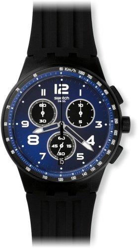 Swatch Unisex Uhr Chronograph Quarz mit Silikonarmband SUSB402
