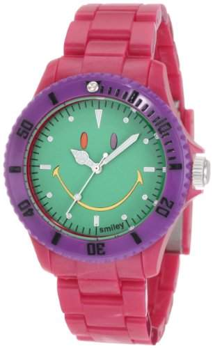 Smiley Happy Time Unisex-Armbanduhr Analog rosa bunt WGS-CBRGV01