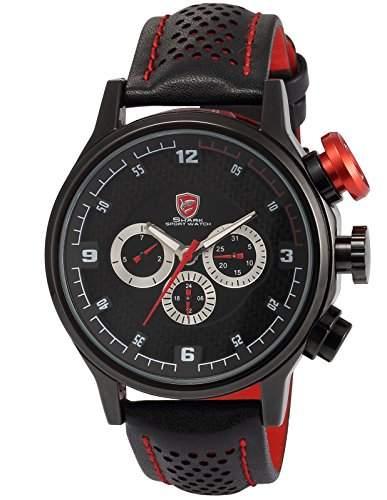 Shark Luxus 6 Zeiger Armbanduhr Zwei Zeitzonen Analog Lederband SH084