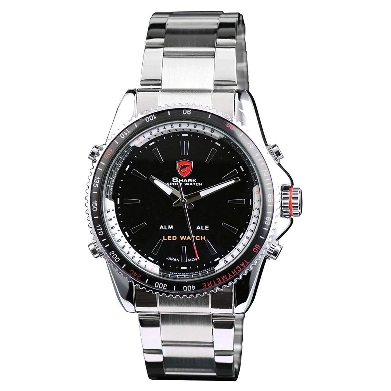 Shark Herren LED Armbanduhr Silber Edelstahl Uhrband SH001