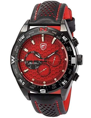 Shark Herren Armbanduhr 6 Zeiger Analog Lederband Zwei Zeitzonen Uhr SH082