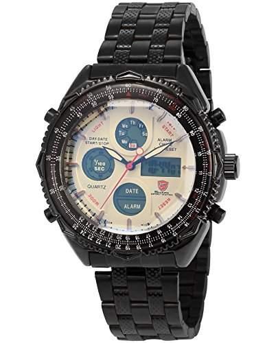 Shark Herren Uhr LED Digitaluhr LCD Sportuhr Quarzuhr Metall Armband Uhr