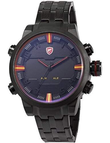 Shark Herren LED Armbanduhr XXL Analog Digital Datumanzeige Schwarz Edelstahl Uhrband SH197