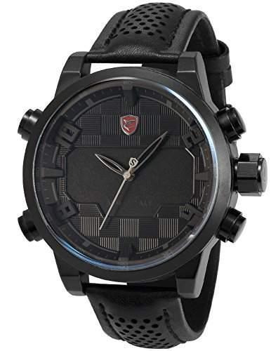 Shark Herren LED Armbanduhr 5cm Extragrosses Uhrgehaeuse SH206