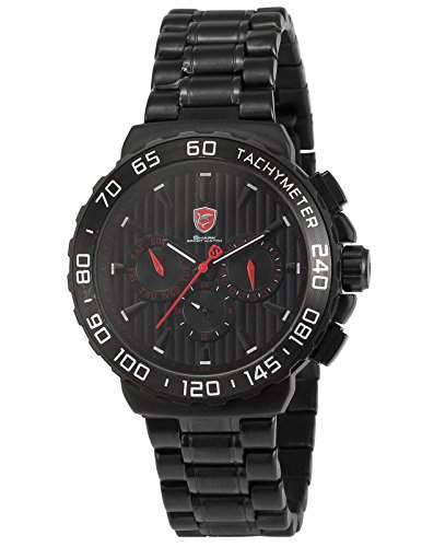 Shark Herren Uhr Edelstahl Armband Datums- und Tagesanzeige Quarzuhr SH379