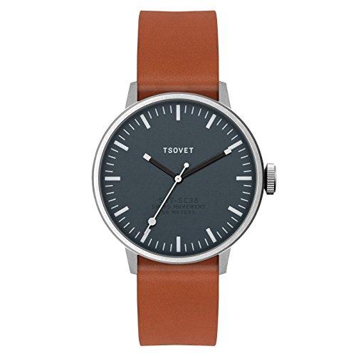 Tsovet Armbanduhr sc111813 45 Edelstahl Dark Grau Tan Leder svt sc38