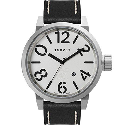 Tsovet LX110110 02 Herren Field Edelstahl schwarz Leder Band Weiss Zifferblatt Uhr
