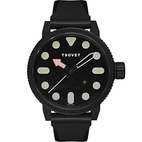 Tsovet NM331010 01 Herren PVD Edelstahl schwarz Leder Band Schwarz Zifferblatt Armbanduhr