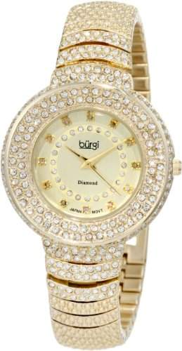 BURGI Damen-Armbanduhr Diamond Accent Analog Quarz BUR048YG