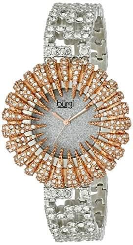 Burgi Damen Dazzling Kristall Quarz Armband Armbanduhr