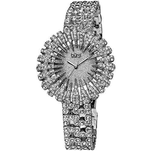 Burgi Damen 41mm Silber Metall Armband Metall Gehäuse Mineral Glas Uhr BUR054SS