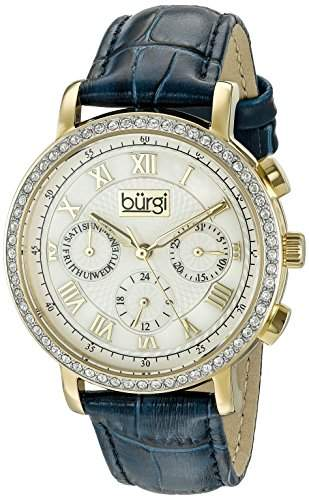 Burgi Damen-Armbanduhr Analog Display Swiss Quarz blau