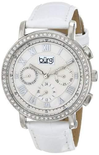 Burgi Damen-Kristall verziert silberfarbenes Uhr mit Weiss Rund Lederband