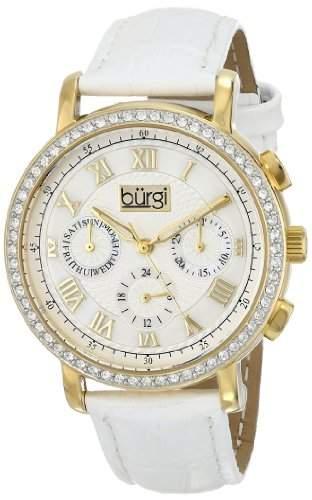 Burgi Damen-Armbanduhr Analog Display Swiss Quarz, weiss